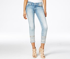 Miss Me Women's Boho Embroidered Ankle Skinny Jean, Blue/White