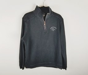 Tommy Bahama Men's 1/2 Zip Embroidered Sweater, Black