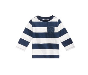 First Impressions Rugby-Striped Long-Sleeve Cotton T-Shirt, Navy/White