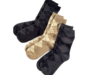 Polo Ralph Lauren Boys's 3 Pack Argyle Socks, Black/Gray/Beige