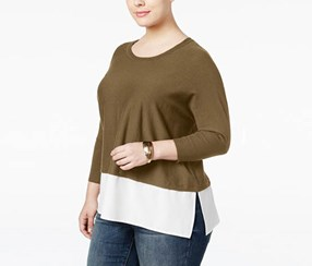 Style & Co. Plus Size Layered-Look Top, Salty Nut