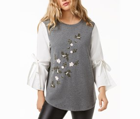 Kensie Bell-Sleeve Embroidered Sweater, Heather Grey/White