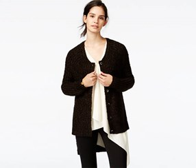 Rachel Rachel Roy High-Low Metallic Cardigan, Army Black