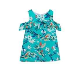 Rare Editions Floral-Shift Dress, Aqua Combo