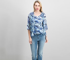 Jm Collection Petite Printed Layered-Look Blouse, Blue