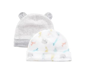 2-Pc. Heathered & Zoo Print Hats, Gray