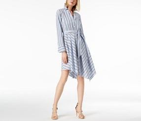 I.n.c. Petite Striped Asymmetrical-Hem Shirtdress, Pleasant Stripe