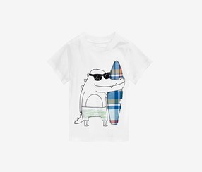 First Impressions Alligator-Print Cotton T-Shirt, Bright White