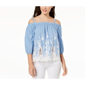 3a55ec851def8 Bcx Embroidered Chambray Off-The-Shoulder Blouse