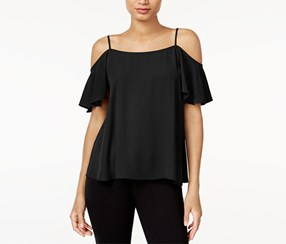 Bar Iii Flutter-Sleeve Cold-Shoulder Top, Black