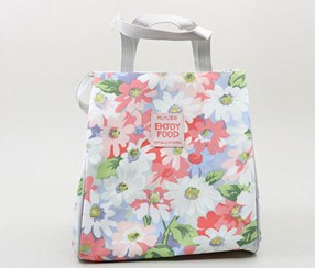 Waterproof Floral Lunch Bag, Blue/Coral/Green