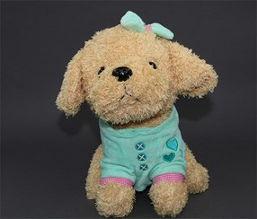 Cute Sitting Cloths Dog Plush, Aqua/Tan