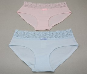 Women's Pure Cotton 2 Panties, Pink/Blue