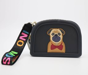 Lovely Animals Wristlet Silicone Coin Purse, Black