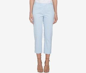 CeCe Striped Cropped Seersucker Pants, Blue