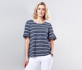 Women's Jersey Top With Frill Sleeves, Navy/White