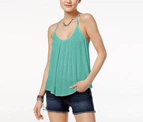 Roxy Juniors' Fly With Me Strappy Crisscross Tank Top, Green