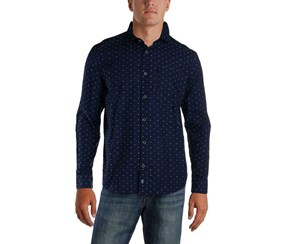 IKE Behar Clip Dot Blue Dressy Button-Down Shirt, Indigo