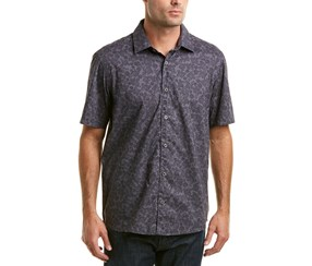 Ike Behar Men's Paisley Printed Short Sleeve Shirt, Nickle Stone