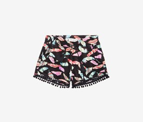 Kids Girls Feather-Print Shorts, Black Combo