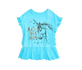 Kandy Kiss Ruffle Edge Graphic-Print Top, Blue