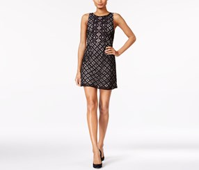 Kensie Graphic Geo Lace Dress, Black Combo