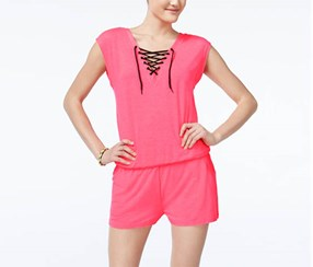 Material Girl Women's Lace-Up Romper, Pink