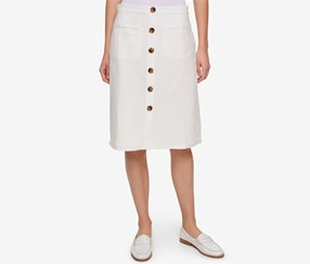 Tommy Hilfiger Button-Front A-Line Skirt, White
