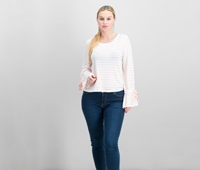 Maison Jules Striped Bell-Sleeve Top, Pink Lily