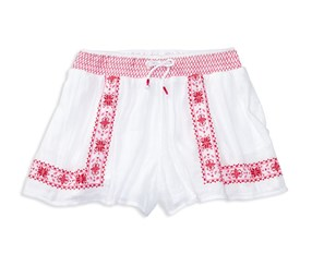 Ralph Lauren Girl's Smocked Floral Skirt, White/Pink