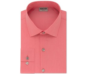 Kenneth Cole Reaction Slim-Fit Techni-Cole Flex Collar Solid Dress Shirt, Pink
