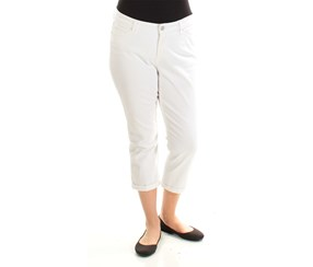 Vintage America Women's Colored Boho Cropped Jeans, White