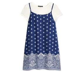 Sequin Hearts Girl's Slip Dress & T-Shirt, Navy/Off White