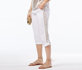 Inc Linen Embroidered Cargo Pants, White