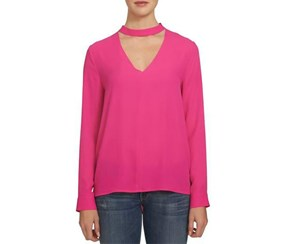 1.State Long-Sleeve Choker Top, Pink