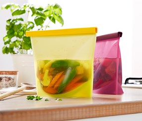 Silicone Bags Set Of 2, Yellow/Red