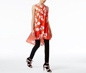 Vince Camuto Women's Floral-Print High-Low Tunic, Orange