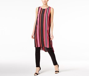 Vince Camuto Women's Striped Hi-Low Tunic Top, Black/Pink/Red