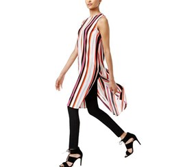 Vince Camuto Women's Sleeveless Striped, Festive Pink