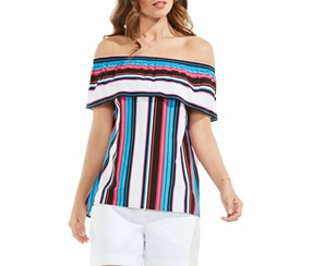 Vince Camuto Stripe Off-the-shoulder Blouse, Havana/Blue