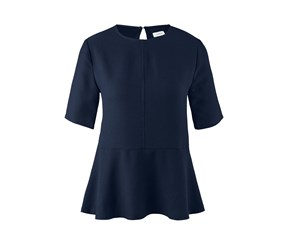 Women's Blouse With Flounce, Navy Blue