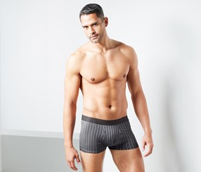 Men's 2 Pairs Of Microfibre Boxer Briefs, Black/Grey