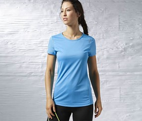 Reebok Women's RE SS Tee, Blue