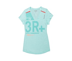 Reebok One Series V Neck Tops, Crystal Blue