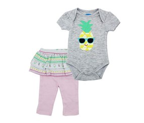 Bon Bebe Baby Girl 2pc, Grey/Pink