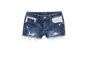 Imperial Star Kid's Girl Crochet-Trim Denim Shorts, Monty