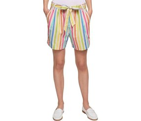 Tommy Hilfiger Women's Striped Pleated Shorts, Blue/Green/Pink/Orange