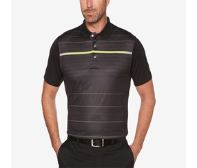 PGA Tour Men's Luminous Striped Golf Polo, Caviar