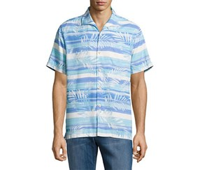 Tommy Bahama Men's Leaf On the Water Silk Shirt, Blue