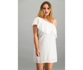 1.State One-Shoulder Flounce Dress, Cloud